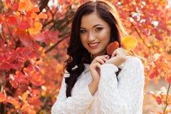 Muchacha sonriente hermosa en hojas de otoño coloridas Fotografía de archivo