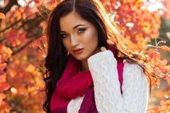 Muchacha sonriente hermosa en hojas de otoño coloridas Fotos de archivo