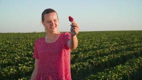 Muchacha sonriente joven con el soporte rojo delicioso de la fresa en la plantación almacen de metraje de vídeo