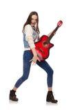 Muchacha sonriente joven con la guitarra Fotos de archivo