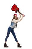 Muchacha sonriente joven con la guitarra aislada en blanco Foto de archivo libre de regalías