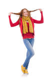Muchacha sonriente linda en chaqueta roja y vaqueros aislados Imagen de archivo libre de regalías
