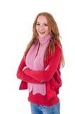 Muchacha sonriente linda en chaqueta roja y vaqueros aislados Fotografía de archivo