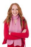 Muchacha sonriente linda en chaqueta roja y vaqueros aislados Imágenes de archivo libres de regalías