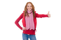 Muchacha sonriente linda en chaqueta roja y vaqueros aislados Foto de archivo libre de regalías