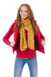 Muchacha sonriente linda en chaqueta roja y vaqueros aislados Fotos de archivo libres de regalías