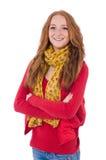 Muchacha sonriente linda en chaqueta roja y vaqueros aislados Imagen de archivo
