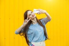 Muchacha sonriente linda que hace el selfie Fotografía de archivo libre de regalías