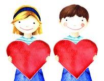 Muchacha sonriente poco bastante hermosa que lleva a cabo el corazón rojo grande en sus manos Ejemplo pintado a mano de la acuare Foto de archivo