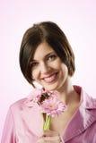 Muchacha sonriente rosada hermosa Imágenes de archivo libres de regalías