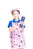 Muchacha sonriente vestida como cocinero Fotografía de archivo libre de regalías