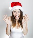 Muchacha sorprendente de la Navidad Imagenes de archivo