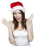 Muchacha sorprendida de la Navidad Fotos de archivo libres de regalías