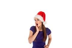 Muchacha sorprendida de la Navidad Fotografía de archivo libre de regalías