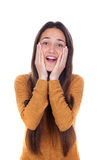 Muchacha sorprendida del adolescente con el jersey amarillo Imagen de archivo libre de regalías