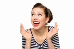 Muchacha sorprendida del contacto-para arriba Imagen de archivo libre de regalías