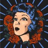 Muchacha sorprendida - marco con las rosas, imagen del vintage stock de ilustración