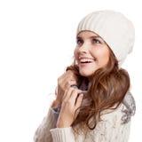 Muchacha sorprendida Mujer del invierno aislada Fotografía de archivo