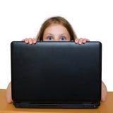 Muchacha sorprendida que mira hacia fuera Fotos de archivo libres de regalías