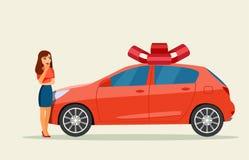 Muchacha sorprendida y nuevo coche libre illustration