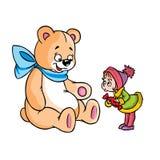 Muchacha sorprendida y un oso de peluche grande Fotos de archivo