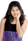 Muchacha srilanquesa en el fondo blanco Imagenes de archivo