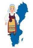 Muchacha sueca en un mapa del fondo Fotografía de archivo libre de regalías