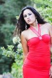 Muchacha suramericana con el vestido rojo al aire libre Foto de archivo