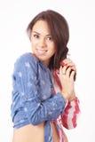 Muchacha tímida linda en una camisa Imágenes de archivo libres de regalías