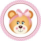 Muchacha Teddy Bear Sticker Fotografía de archivo