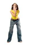 Muchacha traviesa en pantalones vaqueros anchos Fotos de archivo