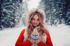 Muchacha traviesa encantadora de la foto al aire libre en invierno con la acción de la nieve Imagen de archivo
