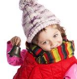 Muchacha tres años con la alarma de la Navidad Fotografía de archivo libre de regalías