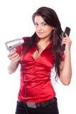 Muchacha triguena con el secador de pelo fotografía de archivo