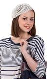 Muchacha triguena linda joven en estilo parisiense Imagenes de archivo
