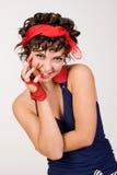 Muchacha triguena retra con estilo hermosa joven Fotos de archivo libres de regalías