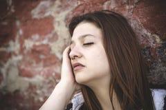 Muchacha triste con la cara motional Fotografía de archivo
