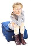 Muchacha triste con la maleta Fotografía de archivo