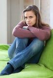 Muchacha triste que tiene decepción Imagen de archivo libre de regalías