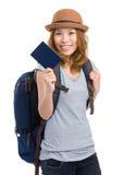 Muchacha turística con la mochila y el pasaporte Imágenes de archivo libres de regalías