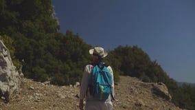 Muchacha turística joven en sombrero y con la mochila que sonríe y que camina a lo largo del rastro entre la naturaleza hermosa fotos de archivo libres de regalías