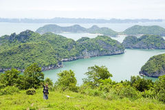 muchacha turística que toma la imagen, bahía del halong de la piedra caliza foto de archivo