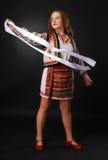 Muchacha ucraniana con una cinta blanca. Fotografía de archivo libre de regalías