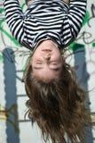 Muchacha upside-down Fotografía de archivo