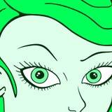 Muchacha verde de la cara Fotografía de archivo libre de regalías