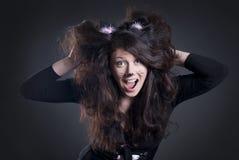 Muchacha vestida como gato Foto de archivo