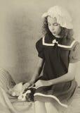 Muchacha victoriana con el perro Imagen de archivo libre de regalías