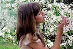 Muchacha y árbol floreciente Imágenes de archivo libres de regalías