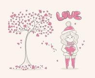 Muchacha y árbol lindos con los corazones, diseño de carácter, gráfico de la historieta de la moda Fotografía de archivo libre de regalías