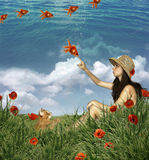 Muchacha y amapolas Imagen de archivo libre de regalías